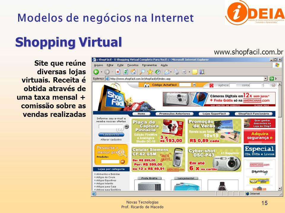 Shopping Virtual Modelos de negócios na Internet www.shopfacil.com.br