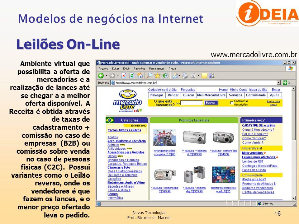 Leilões On-Line Modelos de negócios na Internet