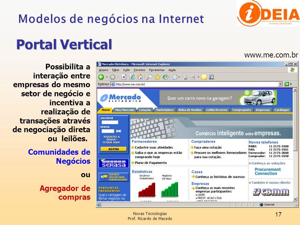 Portal Vertical Modelos de negócios na Internet www.me.com.br