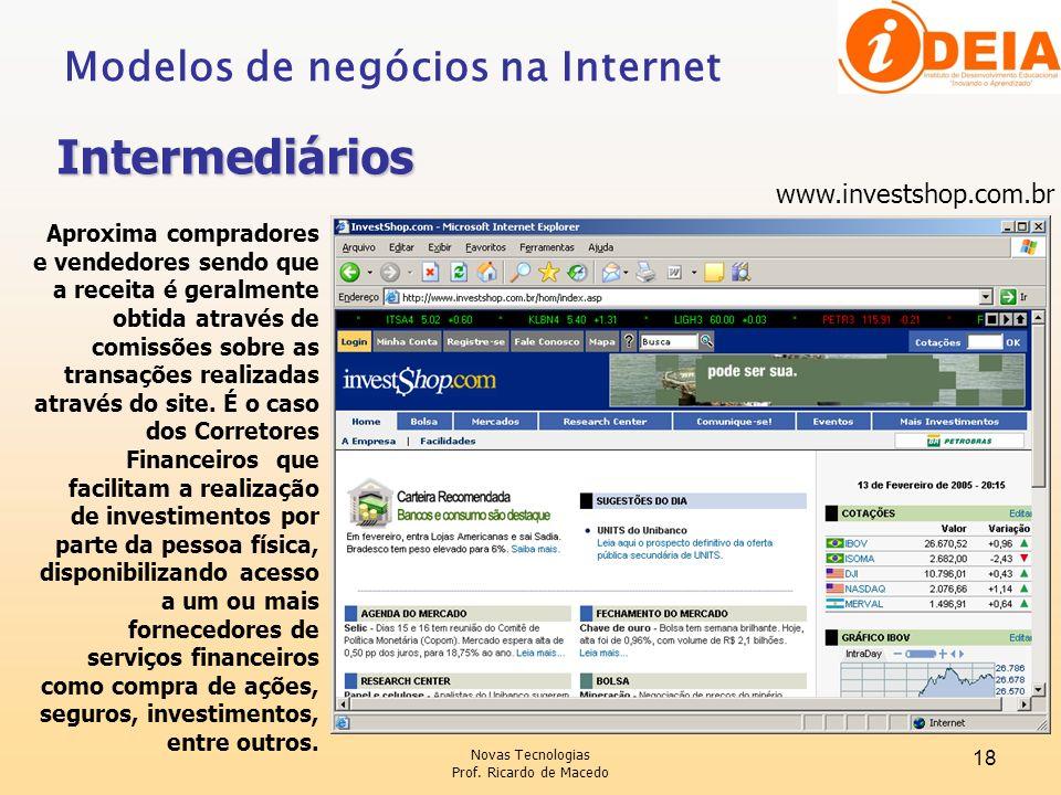 Intermediários Modelos de negócios na Internet www.investshop.com.br