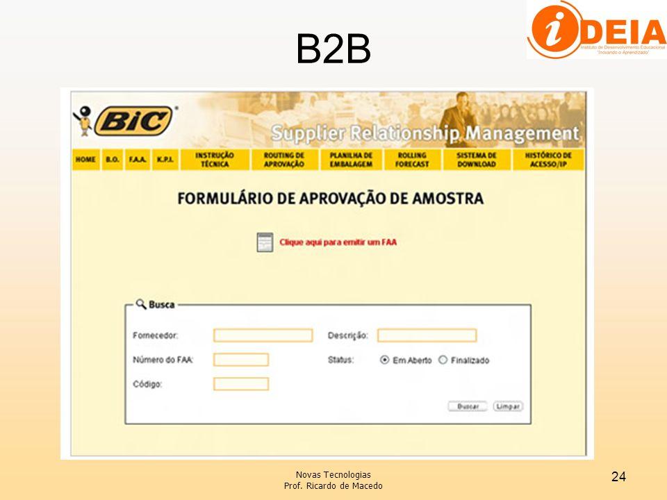 B2B Novas Tecnologias Prof. Ricardo de Macedo