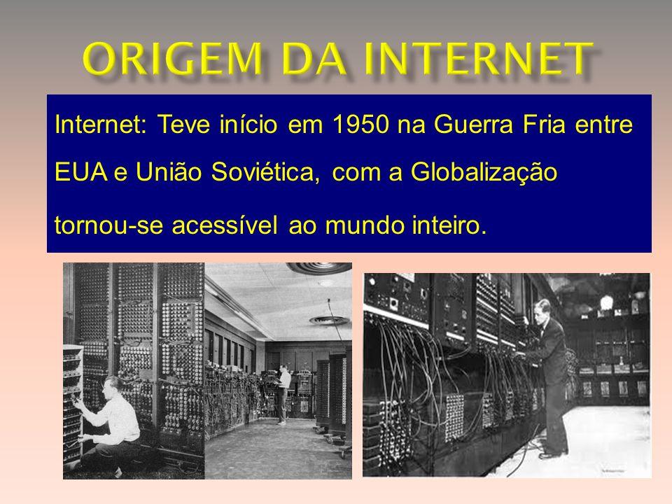 ORIGEM DA INTERNET Internet: Teve início em 1950 na Guerra Fria entre EUA e União Soviética, com a Globalização.