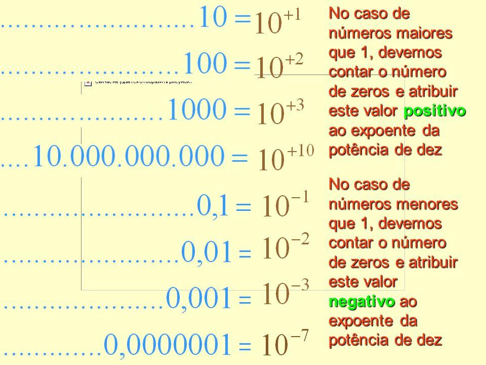 No caso de números maiores que 1, devemos contar o número de zeros e atribuir este valor positivo ao expoente da potência de dez