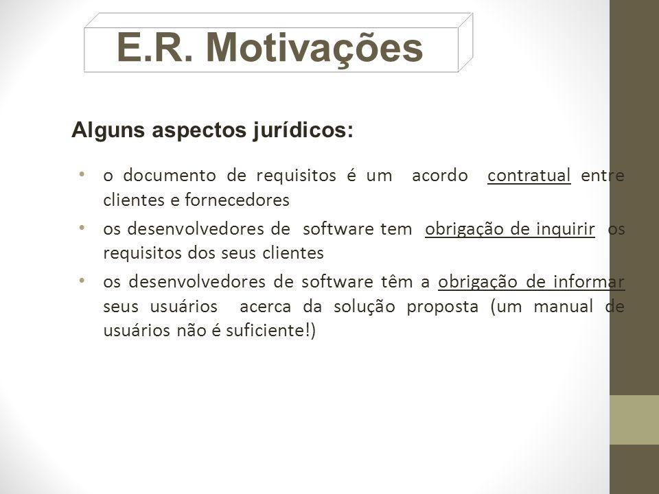 E.R. Motivações Alguns aspectos jurídicos: