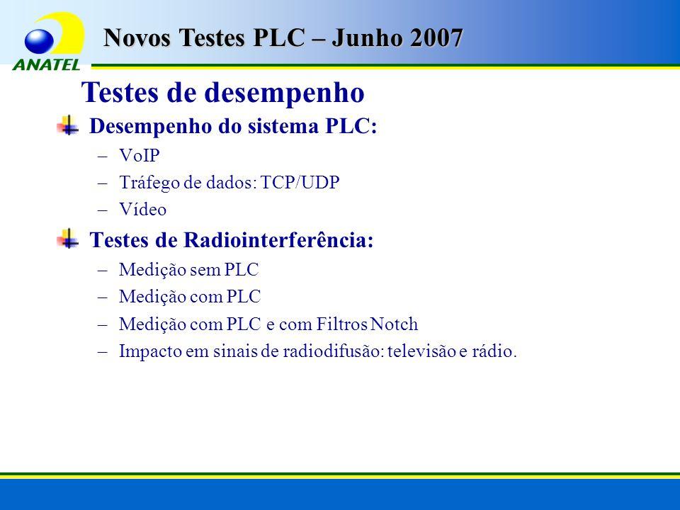 Testes de desempenho Novos Testes PLC – Junho 2007