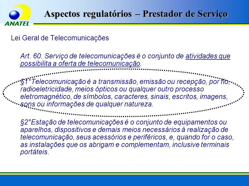Aspectos regulatórios – Prestador de Serviço