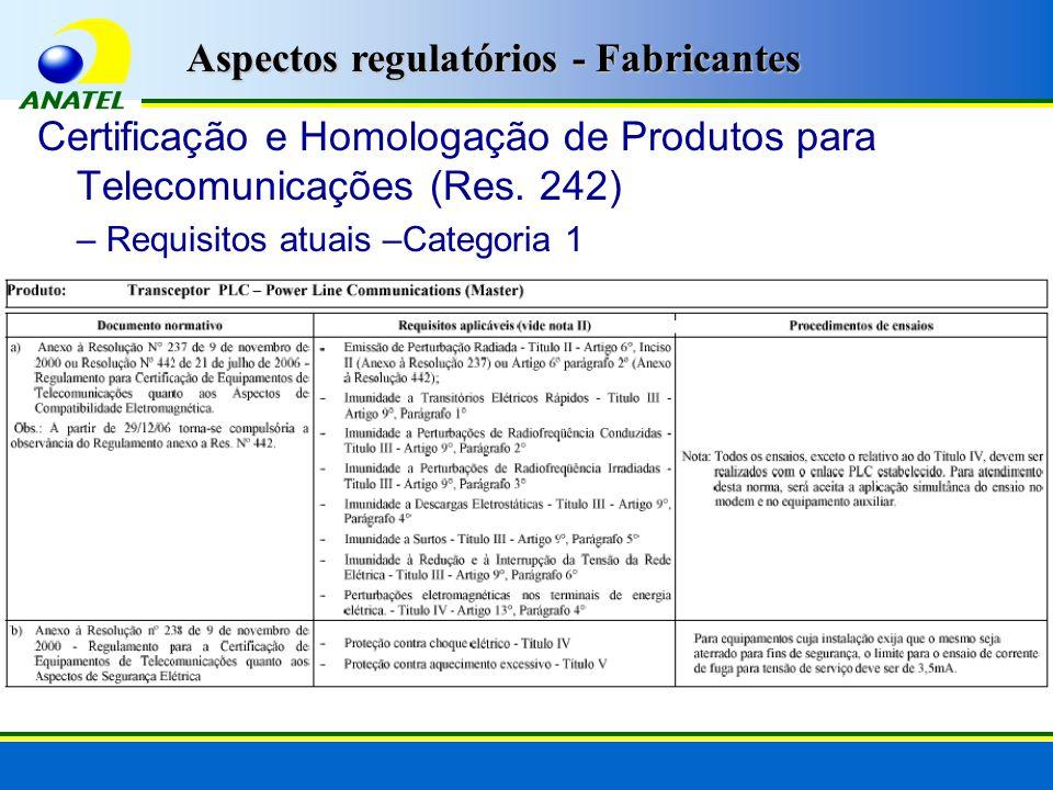 Aspectos regulatórios - Fabricantes