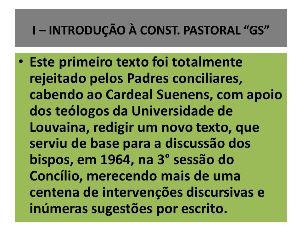 I – INTRODUÇÃO À CONST. PASTORAL GS