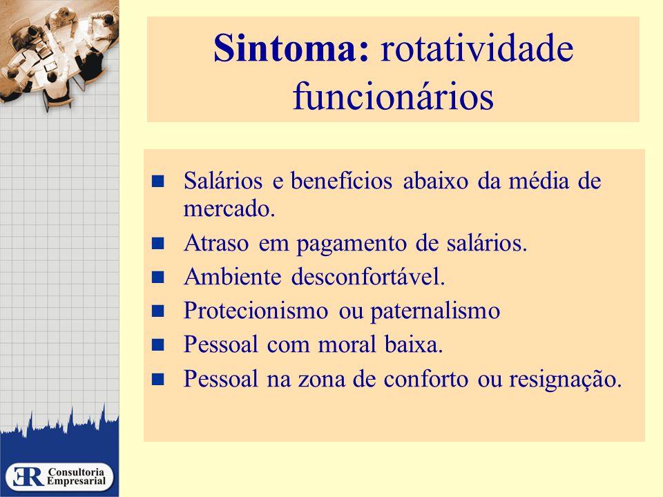 Sintoma: rotatividade funcionários