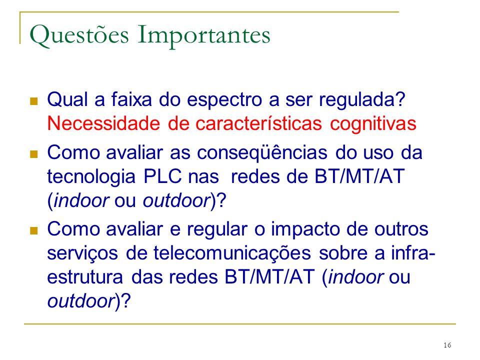Questões Importantes Qual a faixa do espectro a ser regulada Necessidade de características cognitivas.