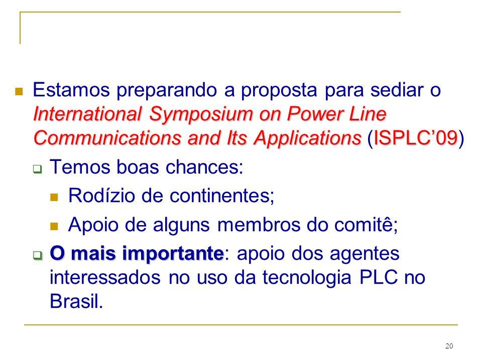 Estamos preparando a proposta para sediar o International Symposium on Power Line Communications and Its Applications (ISPLC'09)