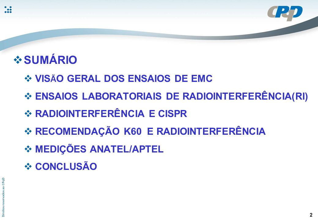 SUMÁRIO VISÃO GERAL DOS ENSAIOS DE EMC