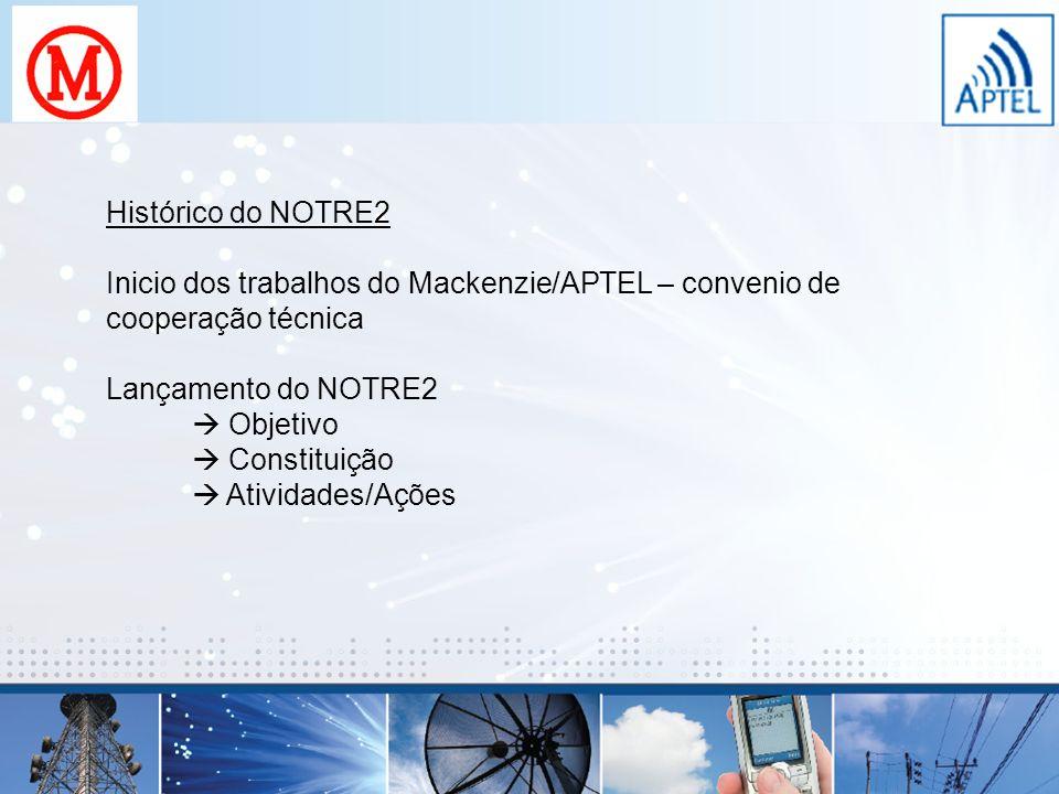 Histórico do NOTRE2 Inicio dos trabalhos do Mackenzie/APTEL – convenio de cooperação técnica. Lançamento do NOTRE2.