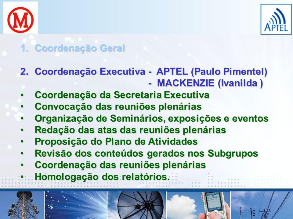 Coordenação Geral Coordenação Executiva - APTEL (Paulo Pimentel) - MACKENZIE (Ivanilda )