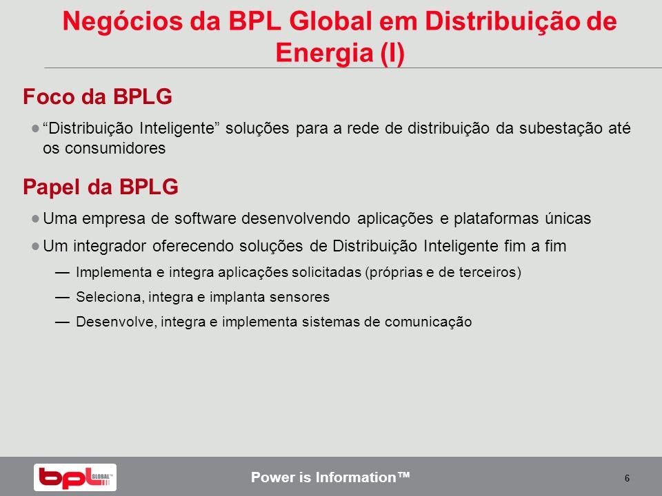 Negócios da BPL Global em Distribuição de Energia (I)