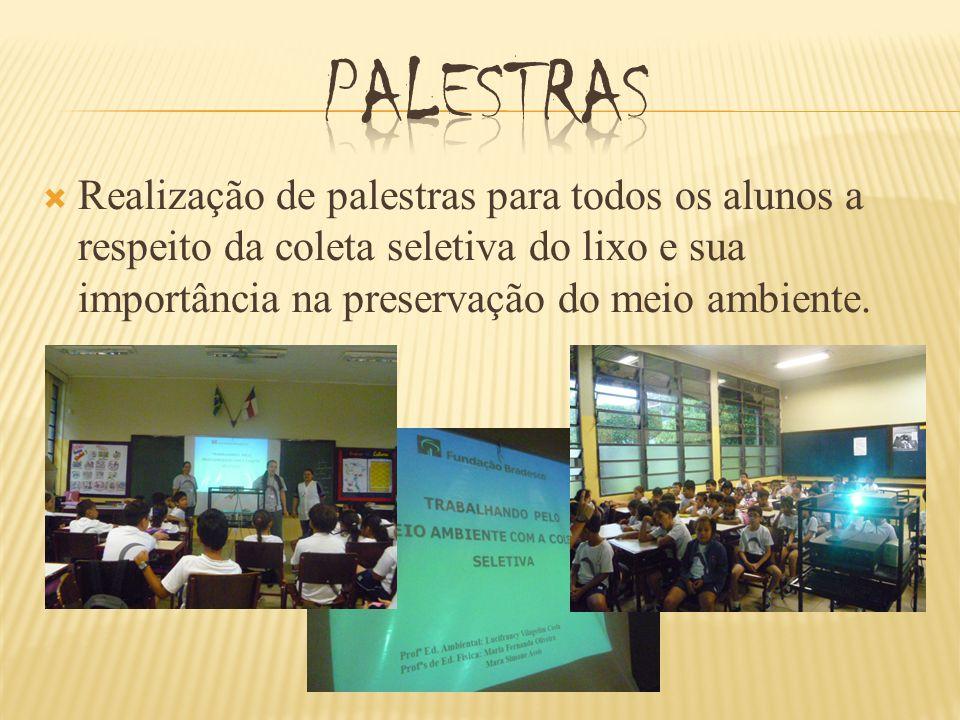 palestras Realização de palestras para todos os alunos a respeito da coleta seletiva do lixo e sua importância na preservação do meio ambiente.