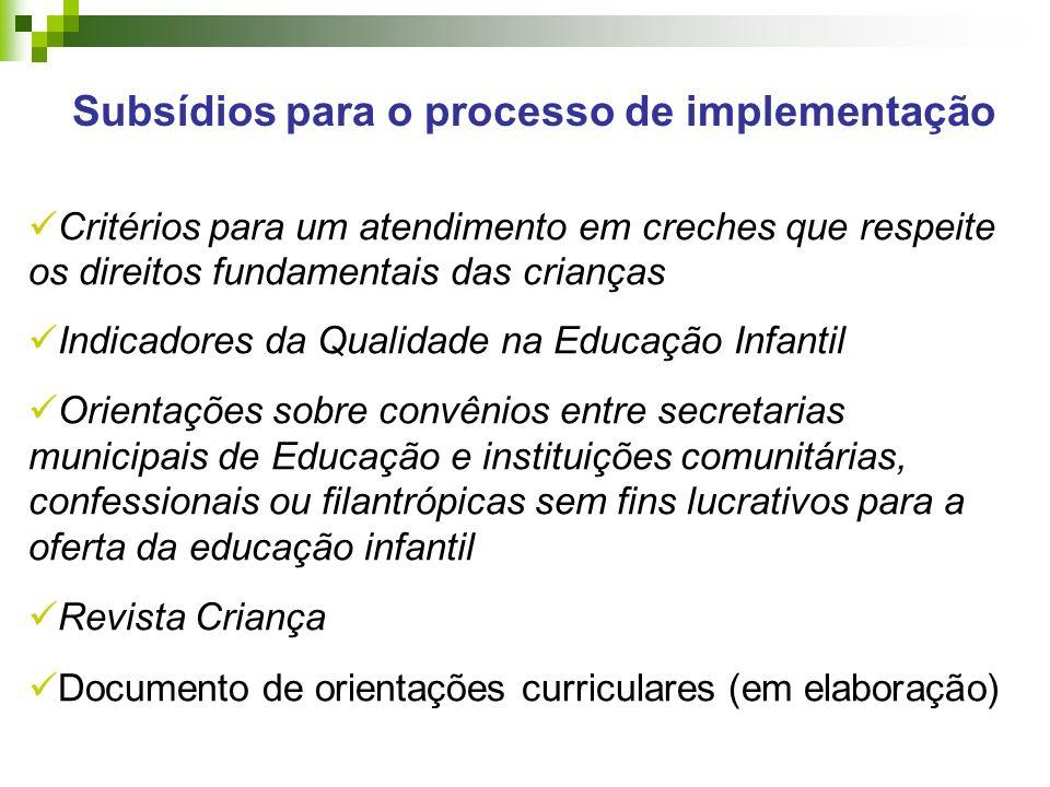 Subsídios para o processo de implementação
