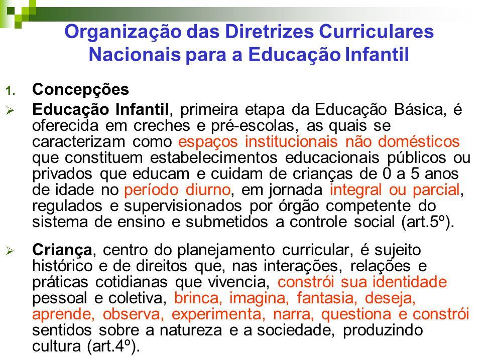 Organização das Diretrizes Curriculares Nacionais para a Educação Infantil