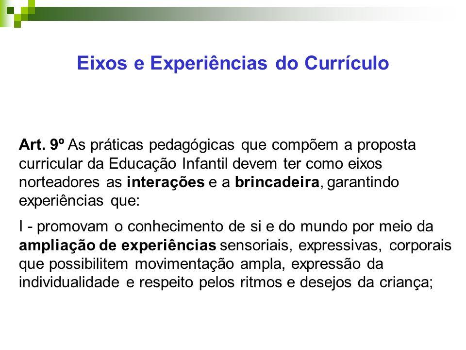 Eixos e Experiências do Currículo