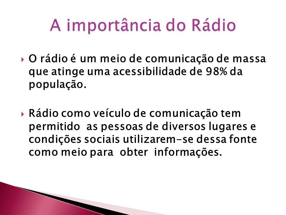 A importância do Rádio O rádio é um meio de comunicação de massa que atinge uma acessibilidade de 98% da população.