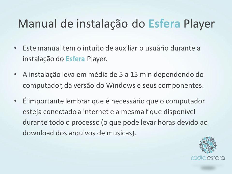 Manual de instalação do Esfera Player