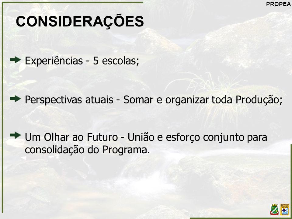 CONSIDERAÇÕES Experiências - 5 escolas;
