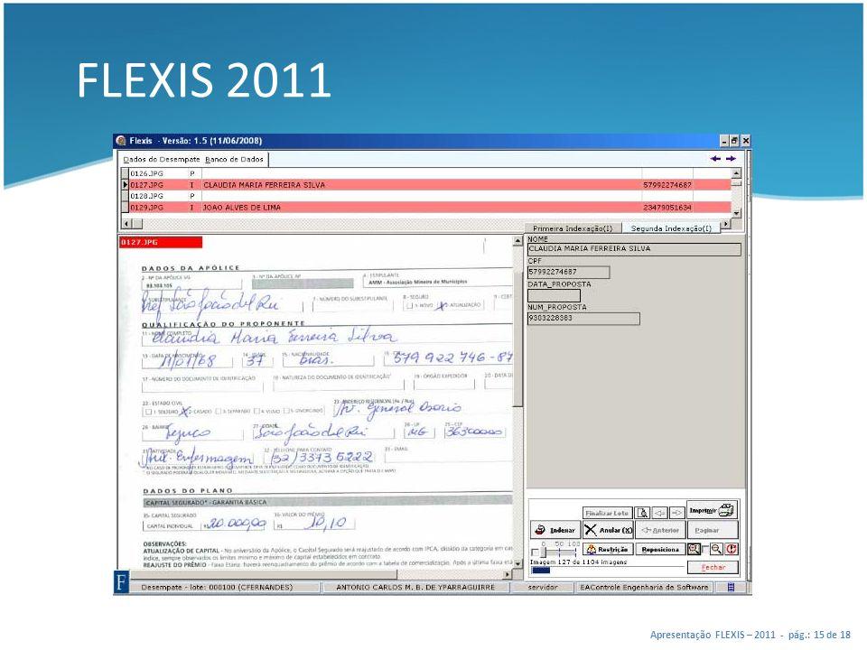 FLEXIS 2011 Apresentação FLEXIS – 2011 - pág.: 15 de 18