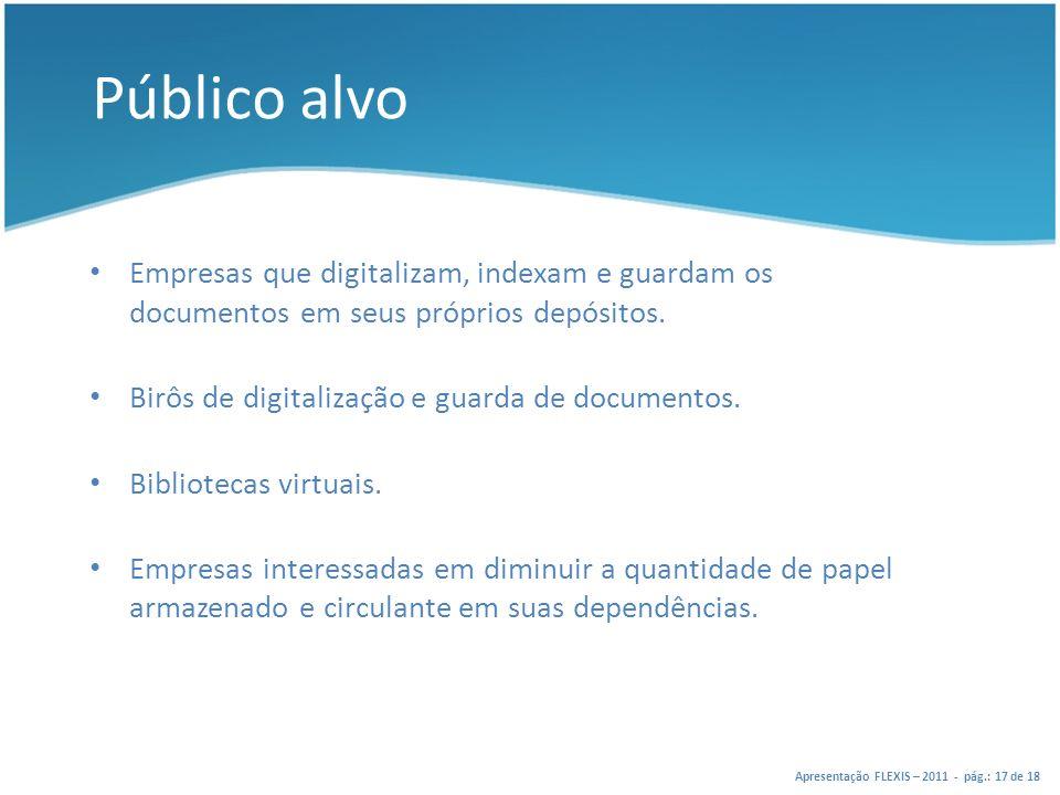 Público alvo Empresas que digitalizam, indexam e guardam os documentos em seus próprios depósitos. Birôs de digitalização e guarda de documentos.