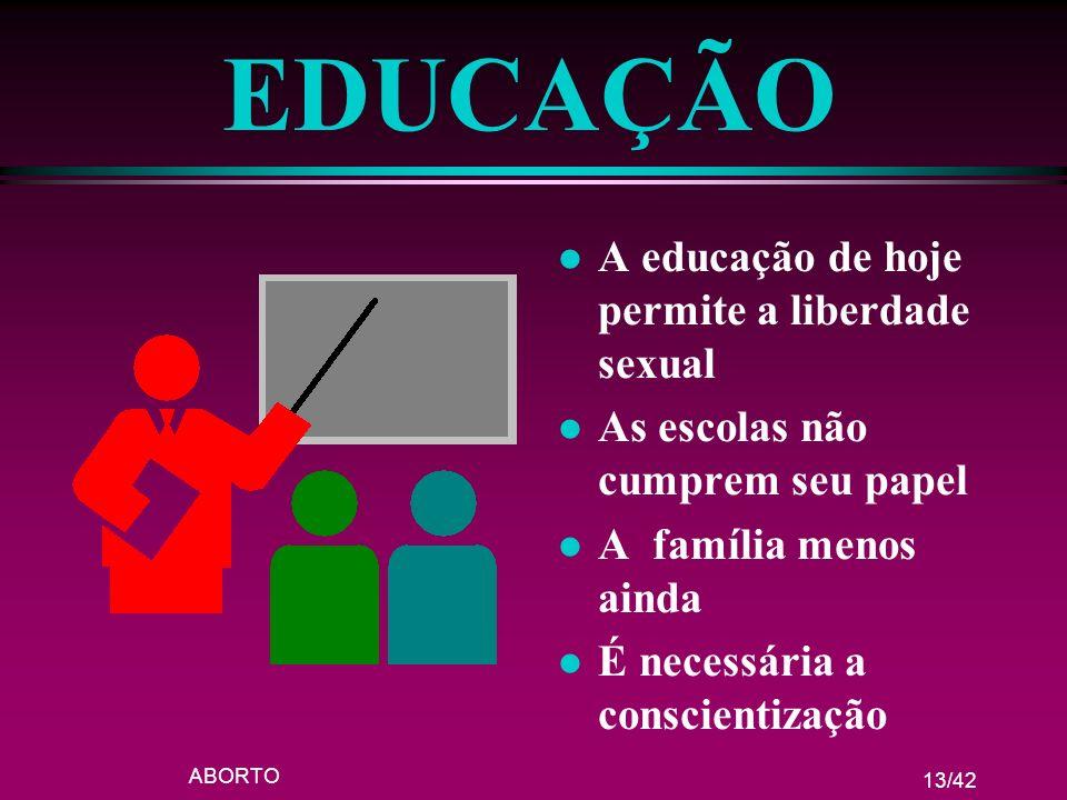 EDUCAÇÃO A educação de hoje permite a liberdade sexual