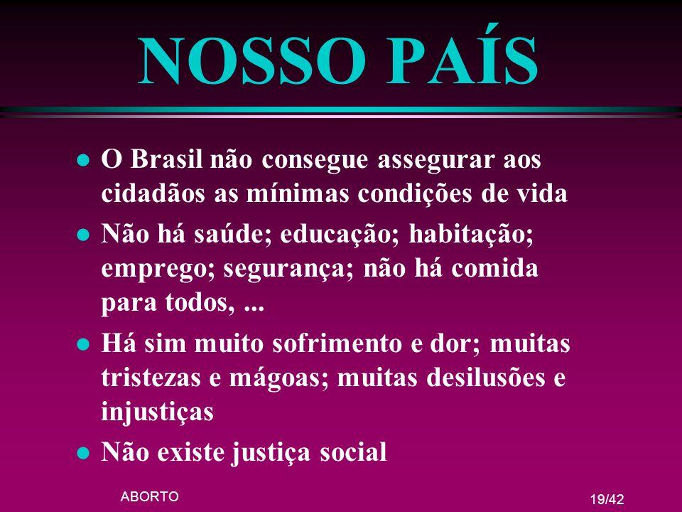 NOSSO PAÍS O Brasil não consegue assegurar aos cidadãos as mínimas condições de vida.