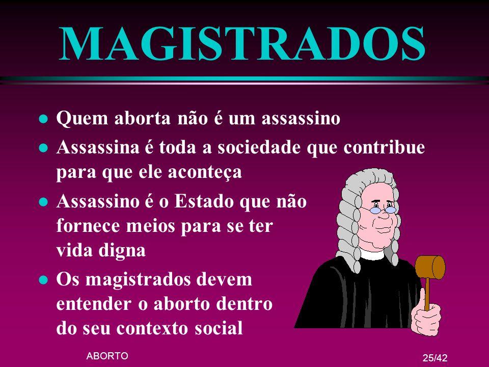 MAGISTRADOS Quem aborta não é um assassino
