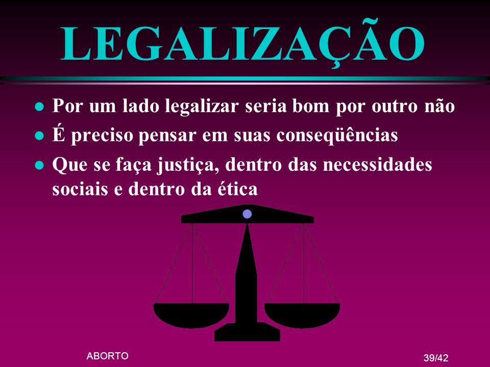 LEGALIZAÇÃO Por um lado legalizar seria bom por outro não