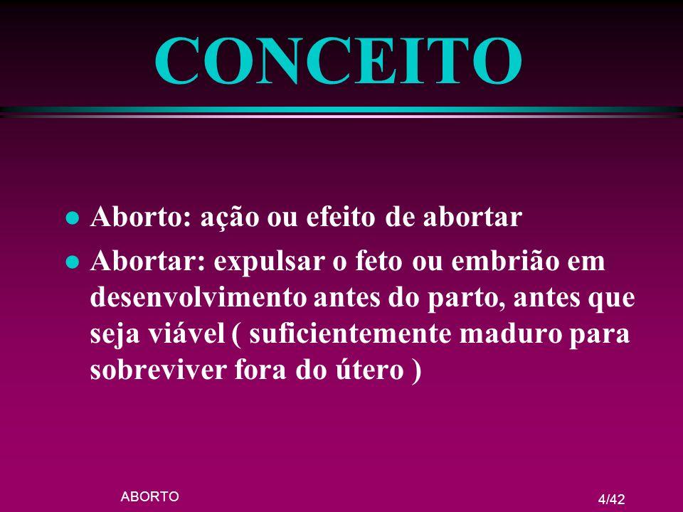 CONCEITO Aborto: ação ou efeito de abortar