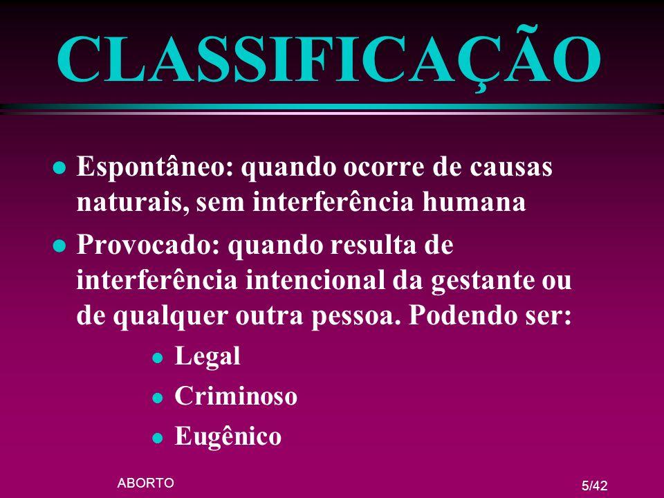 CLASSIFICAÇÃO Espontâneo: quando ocorre de causas naturais, sem interferência humana.