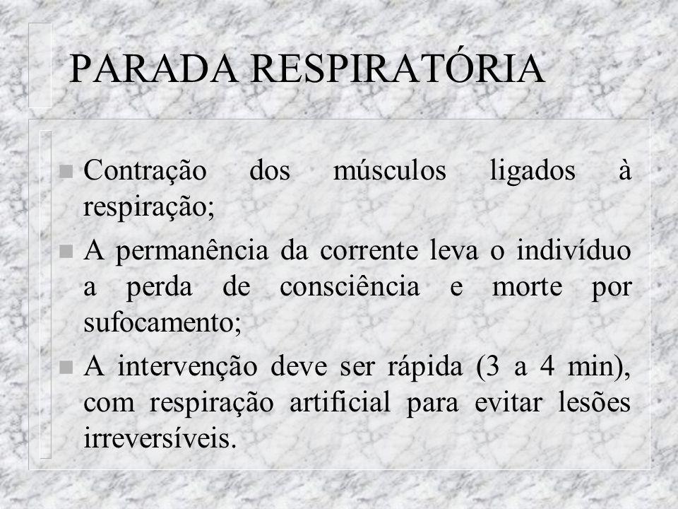 PARADA RESPIRATÓRIA Contração dos músculos ligados à respiração;