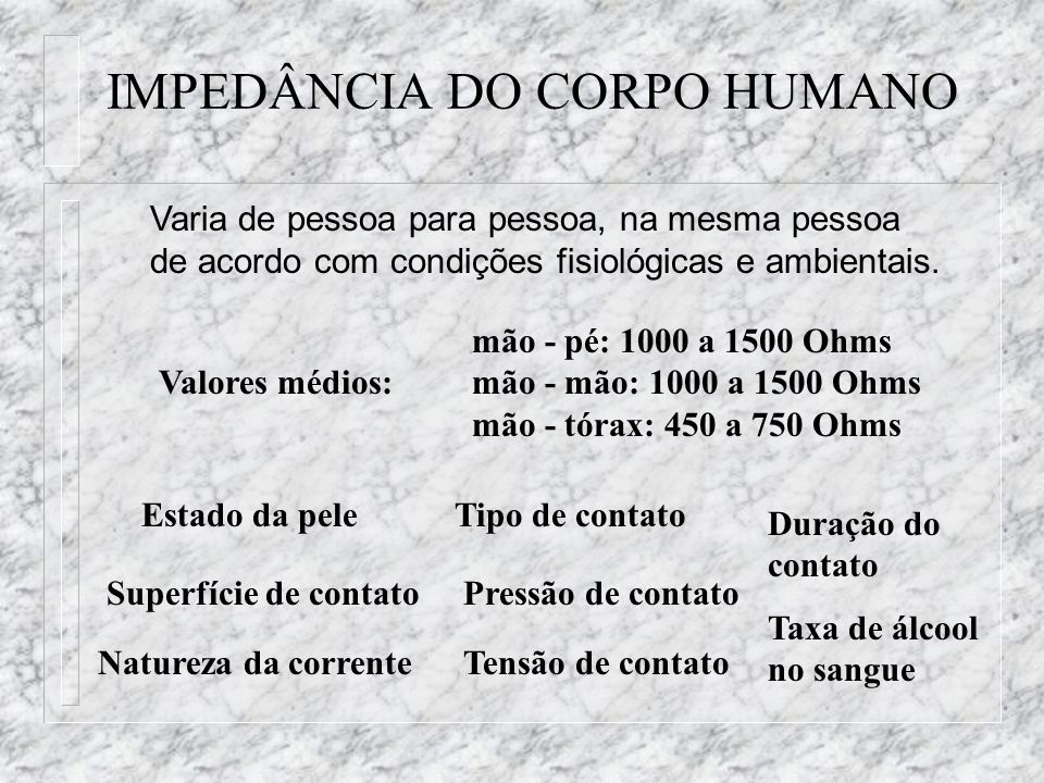 IMPEDÂNCIA DO CORPO HUMANO