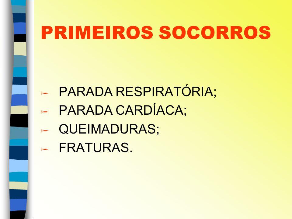 PRIMEIROS SOCORROS PARADA RESPIRATÓRIA; PARADA CARDÍACA; QUEIMADURAS;