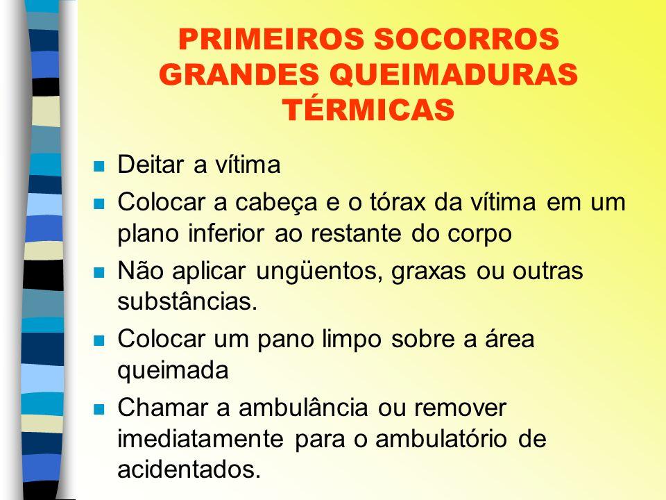 PRIMEIROS SOCORROS GRANDES QUEIMADURAS TÉRMICAS