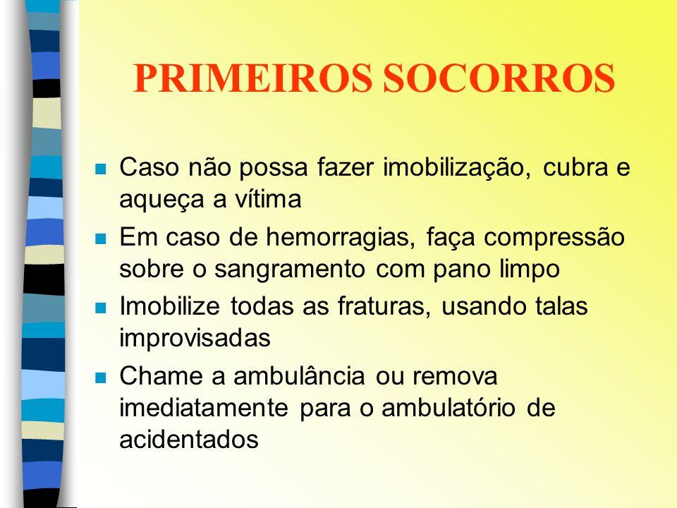 PRIMEIROS SOCORROS Caso não possa fazer imobilização, cubra e aqueça a vítima.