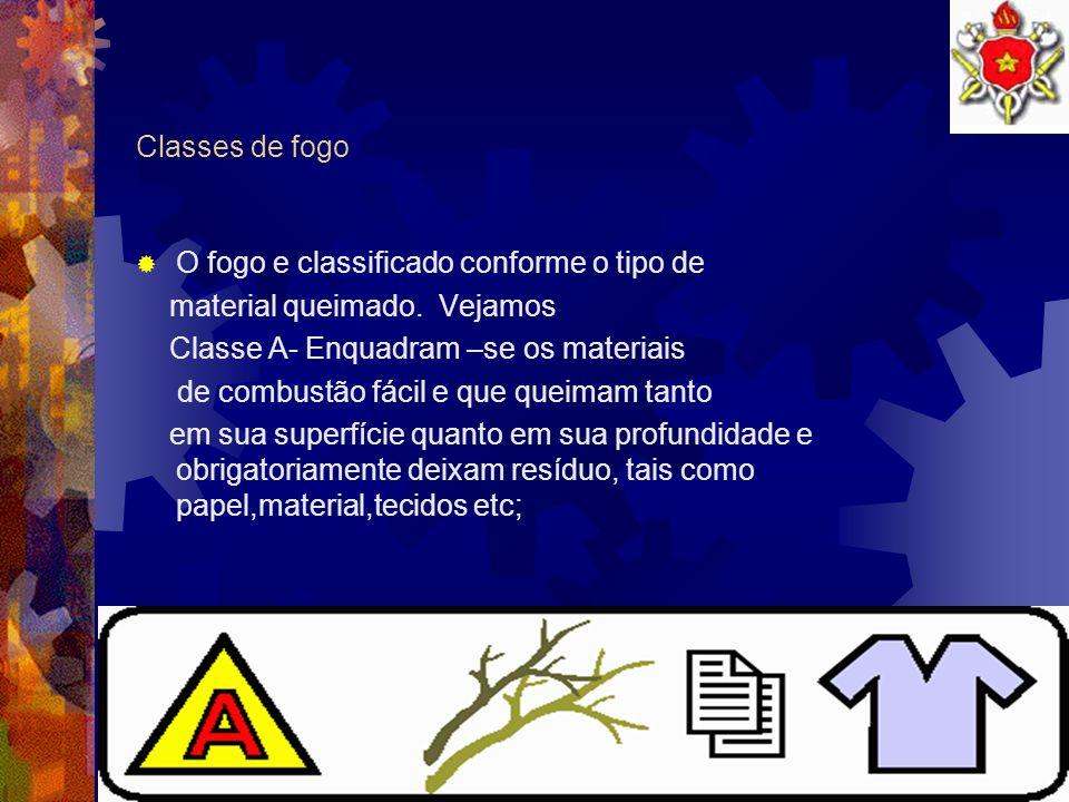 Classes de fogo O fogo e classificado conforme o tipo de. material queimado. Vejamos. Classe A- Enquadram –se os materiais.