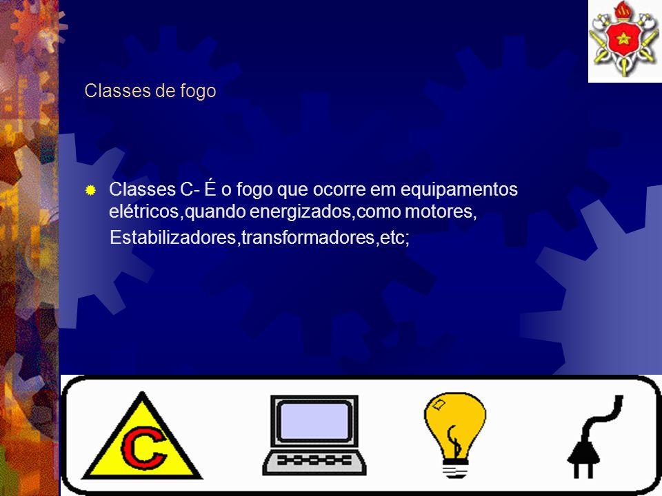 Classes de fogo Classes C- É o fogo que ocorre em equipamentos elétricos,quando energizados,como motores,