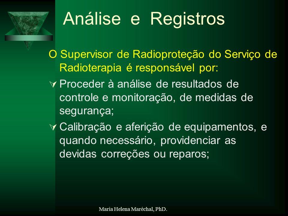 Análise e Registros O Supervisor de Radioproteção do Serviço de Radioterapia é responsável por: