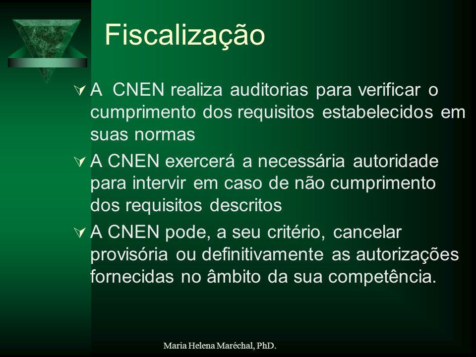 Fiscalização A CNEN realiza auditorias para verificar o cumprimento dos requisitos estabelecidos em suas normas.