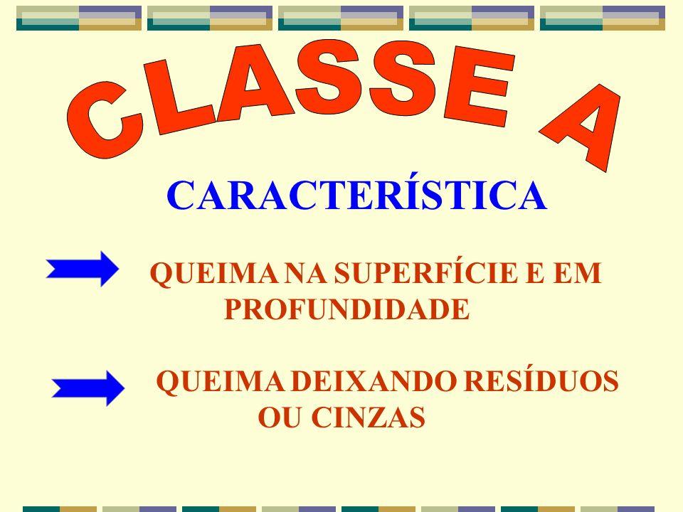CARACTERÍSTICA CLASSE A QUEIMA NA SUPERFÍCIE E EM PROFUNDIDADE
