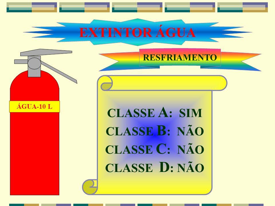EXTINTOR ÁGUA CLASSE A: SIM CLASSE B: NÃO CLASSE C: NÃO CLASSE D: NÃO