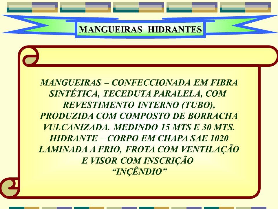 MANGUEIRAS – CONFECCIONADA EM FIBRA SINTÉTICA, TECEDUTA PARALELA, COM
