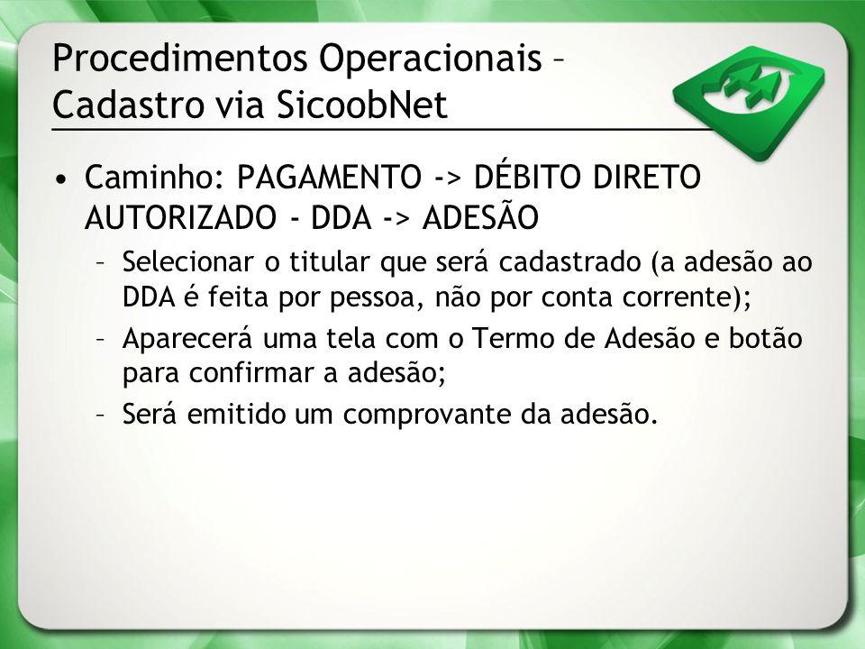 Procedimentos Operacionais – Cadastro via SicoobNet