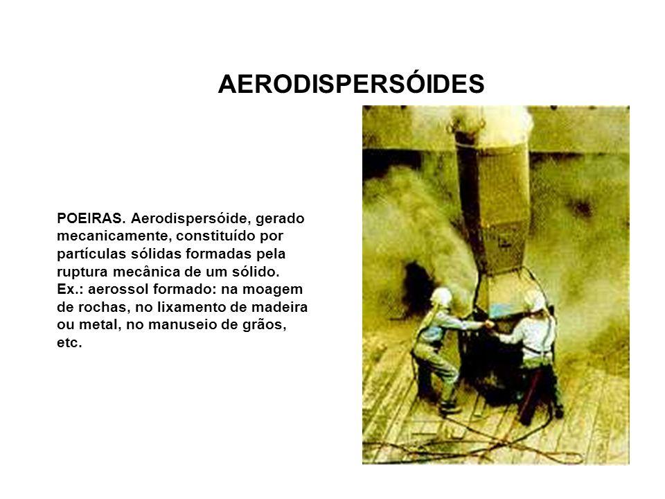 AERODISPERSÓIDES POEIRAS. Aerodispersóide, gerado mecanicamente, constituído por partículas sólidas formadas pela ruptura mecânica de um sólido.