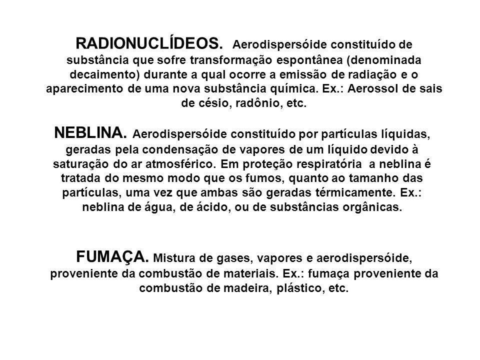 RADIONUCLÍDEOS. Aerodispersóide constituído de substância que sofre transformação espontânea (denominada decaimento) durante a qual ocorre a emissão de radiação e o aparecimento de uma nova substância química. Ex.: Aerossol de sais de césio, radônio, etc.