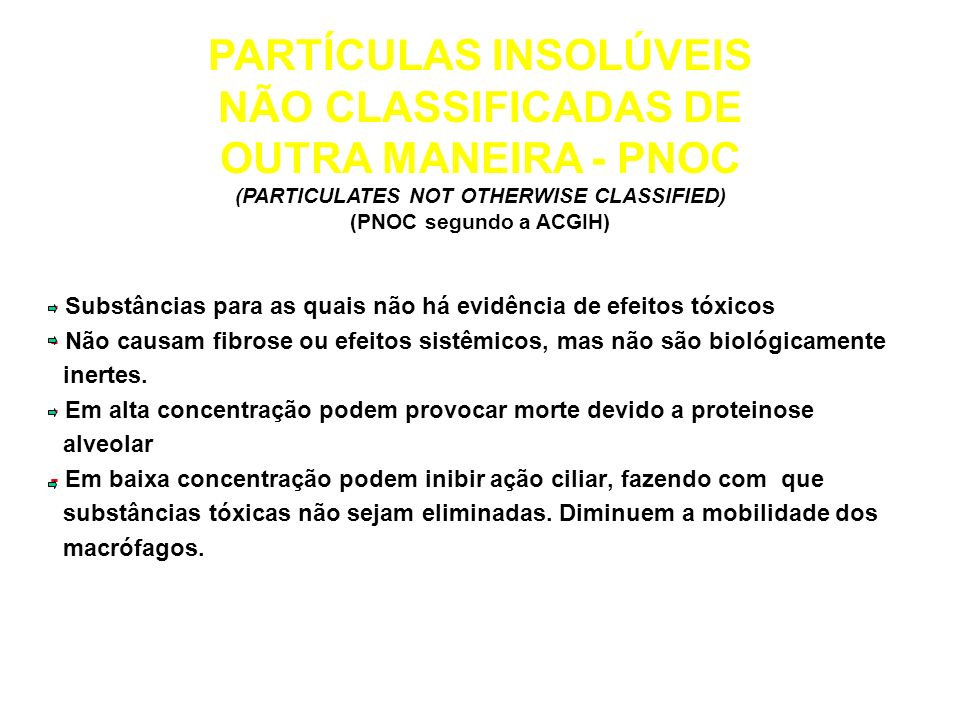 PARTÍCULAS INSOLÚVEIS (PARTICULATES NOT OTHERWISE CLASSIFIED)